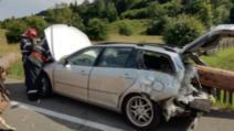 Accident dramatic în județul Suceava, trei oamenin răniți de buștenii căzuți dintr-o remorcă 1