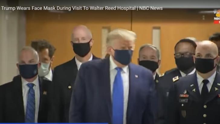 Donald Trump, cu mască în public pentru prima oară de la începutul pandemiei în SUA