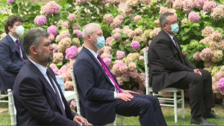 Liderul interimar al PSD Marcel Ciolacu, FĂRĂ mască la recepția de la Ambasada Franței