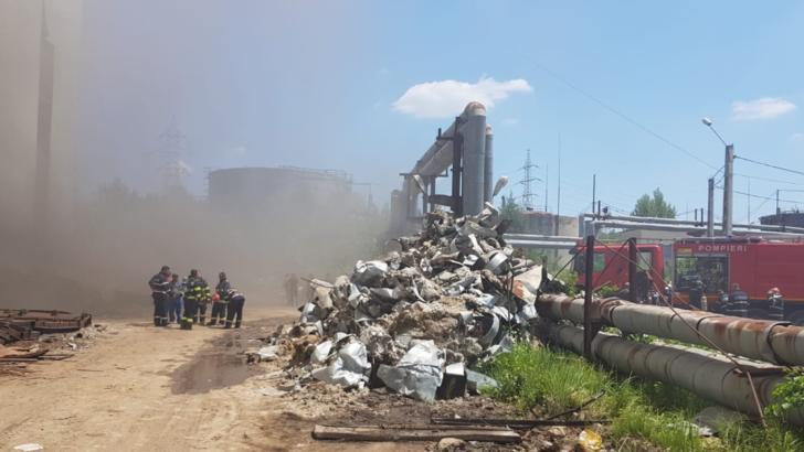 Incendiu violent la o fostă termocentrală din județul Dâmbovița, s-a emis RO-ALERT