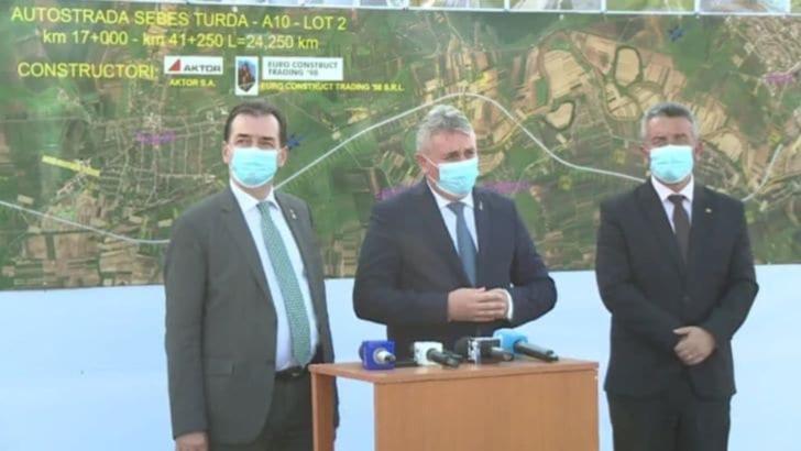 Premierul Ludovic Orban și ministrul Transporturilor, Lucian Bode, în vizită pe șantierele loturilor 1 și 2 de pe autostrada A10 Sebeș-Turda