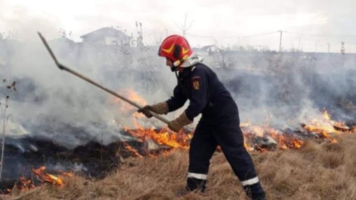 FOTO Incendiu de vegetație de proporții, la Sibiu, focul s-a întins pe 35 de hectare