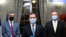 Premierul Ludovic Orban, ministrul Apărării Naționale, Nicolae Ciucă, ministrul Economiei, Virgil Popescu - vizită oficială în Franța 26-27 octombrie 2020 Foto: Gov.ro