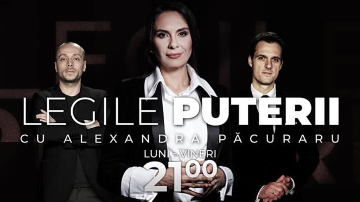 """""""Legile Puterii"""" va fi moderată de către Alexandra Păcuraru. Prima ediție, luni, 5 octombrie"""