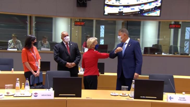 Ursula von der Leyen și Klaus Iohannis, la summitul de la Bruxelles