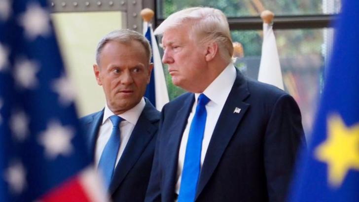 Donald Tusk, fost președinte al Consiliului European, și Donald Trump