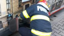Pisicuț salvat de sub un tramvai în mers de pompieri în Craiova