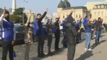 Polițiștii protestează în fața Ministerului de Interne, nemulțumiți că nu beneficiază de stimulentul de risc COVID-19