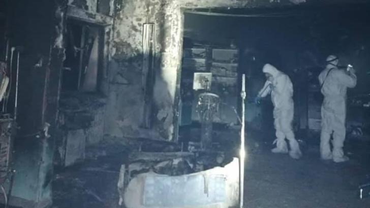 Primele IMAGINI cu salonul ATI mistuit de foc de la spitalul din Piatra Neamț