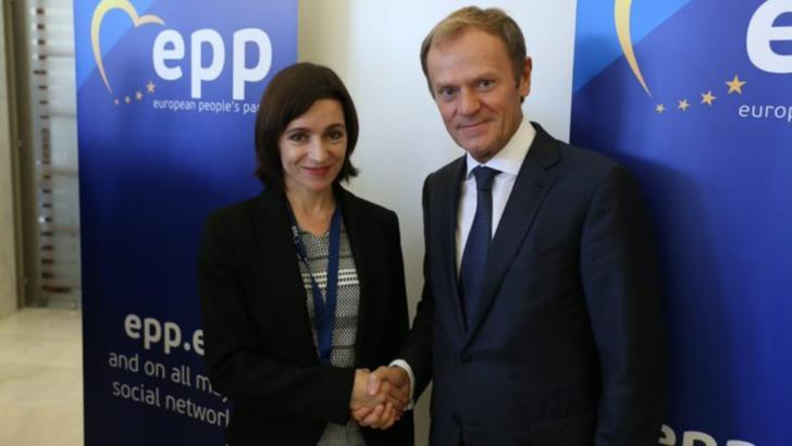 Maia Sandu și Donald Tusk. Foto: Twitter