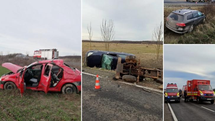 FOTO Accident grav în județul Bihor. Trei mașini implicate, 6 oameni sunt răniți