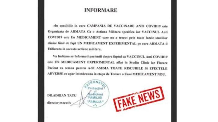 Semnal de alarmă în legătură cu vaccinarea anti-COVID-19: Vaccinarea NU ESTE OBLIGATORIE!
