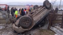 Accident grav, în Vaslui: 3 victime, după ce s-au răsturnat cu mașina / Foto: ISU Vaslui