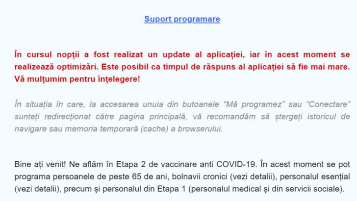 Platforma STS de programarea pentru vaccinarea anti-Covid, DIN NOU nefuncțională. Update-ul care îi lasă pe oameni fără posibilitatea de a se programa