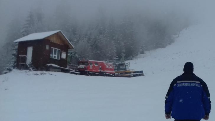 Zăpadă de cel puțin 15 cm în județul Bistrița-Năsăud Foto: Facebook.com/Jandarmeria Bistrița