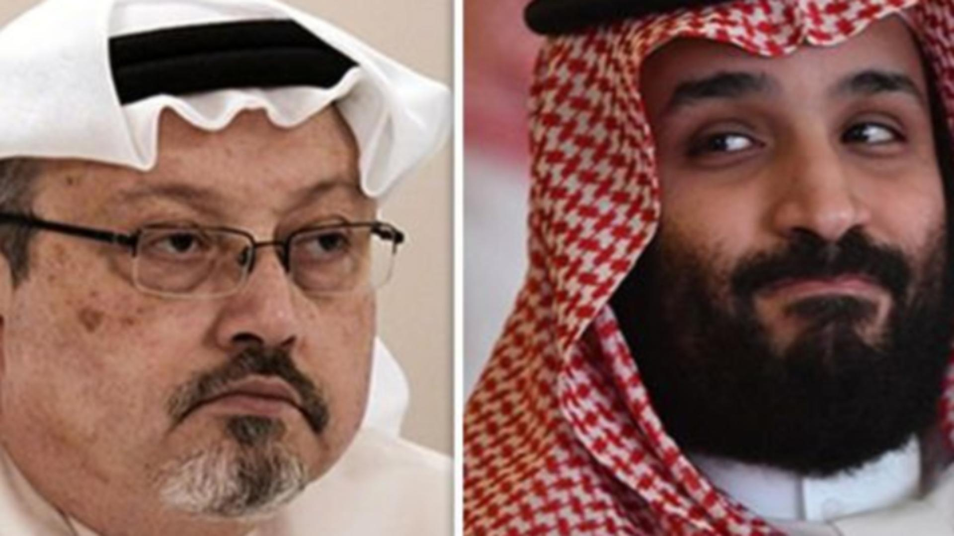 Jurnalistul saudit Jamal Khashoggi, asainat în 2018, și prințul moștenitor Mohammad bin Salman Foto: express.co.uk