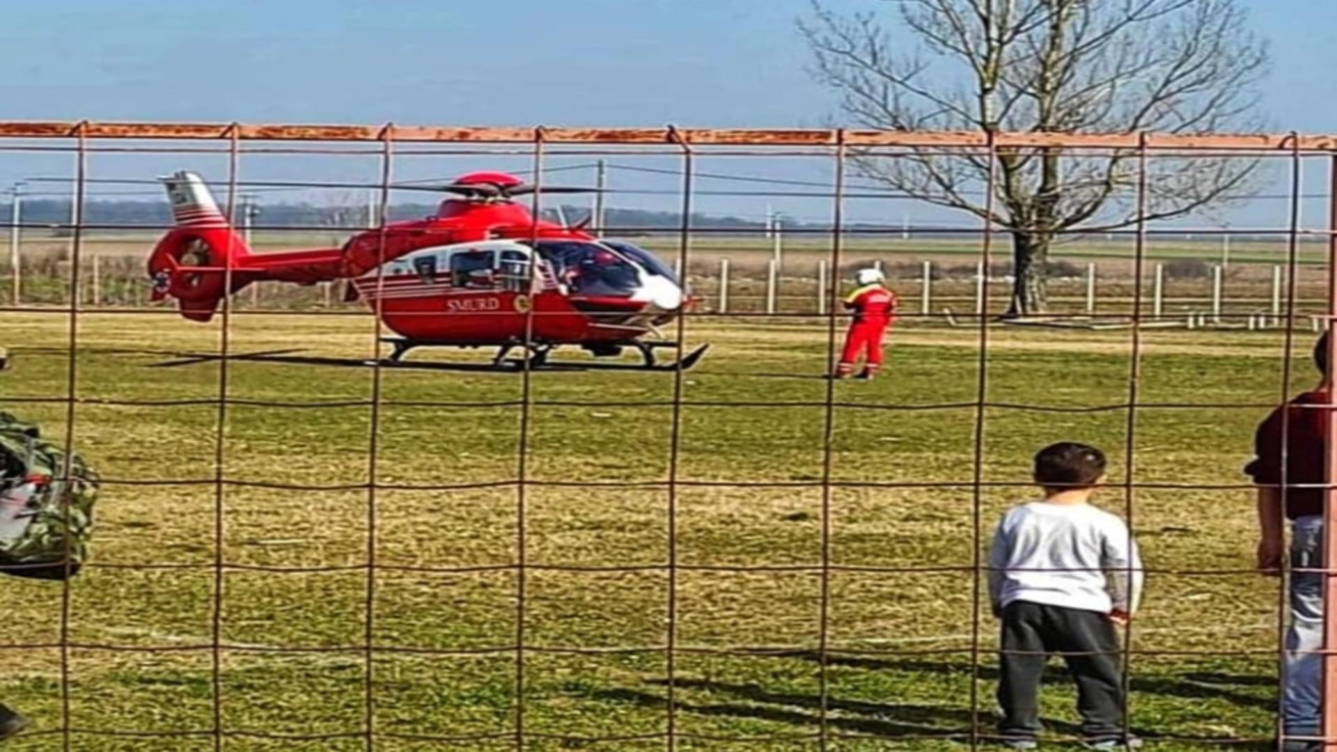 Intervenție elicopter accident Giurgiu