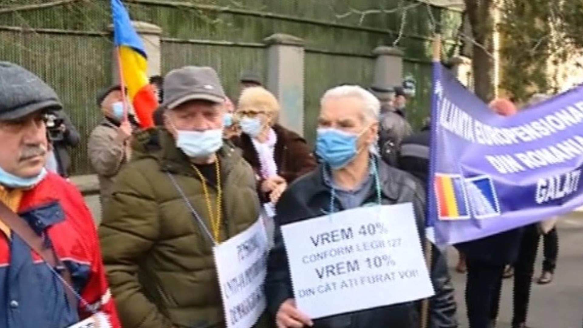 Protest pensionari, Ministerul Muncii, 26 februarie 2021 Foto: Captură Video