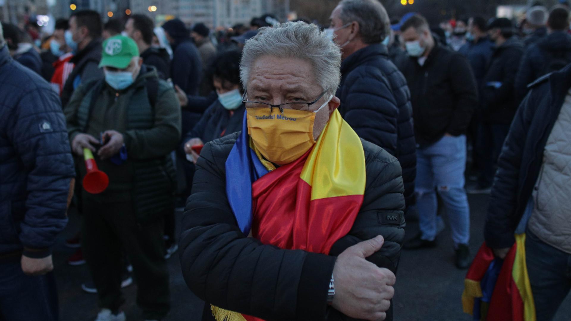 Ion Rădoi, liderul sindicatului de la Metroul bucureștean, la protestul anti-restricții, 29 martie 2021 Foto: InquamPhotos/Octav Ganea