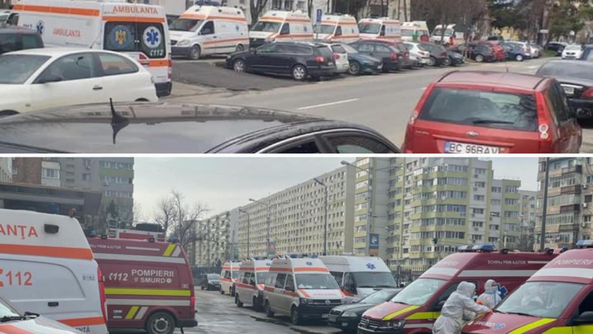 Coadă ambulanțe Spital Boli Infecțioase Brașov / Foto: Facebook Vlad Voiculescu