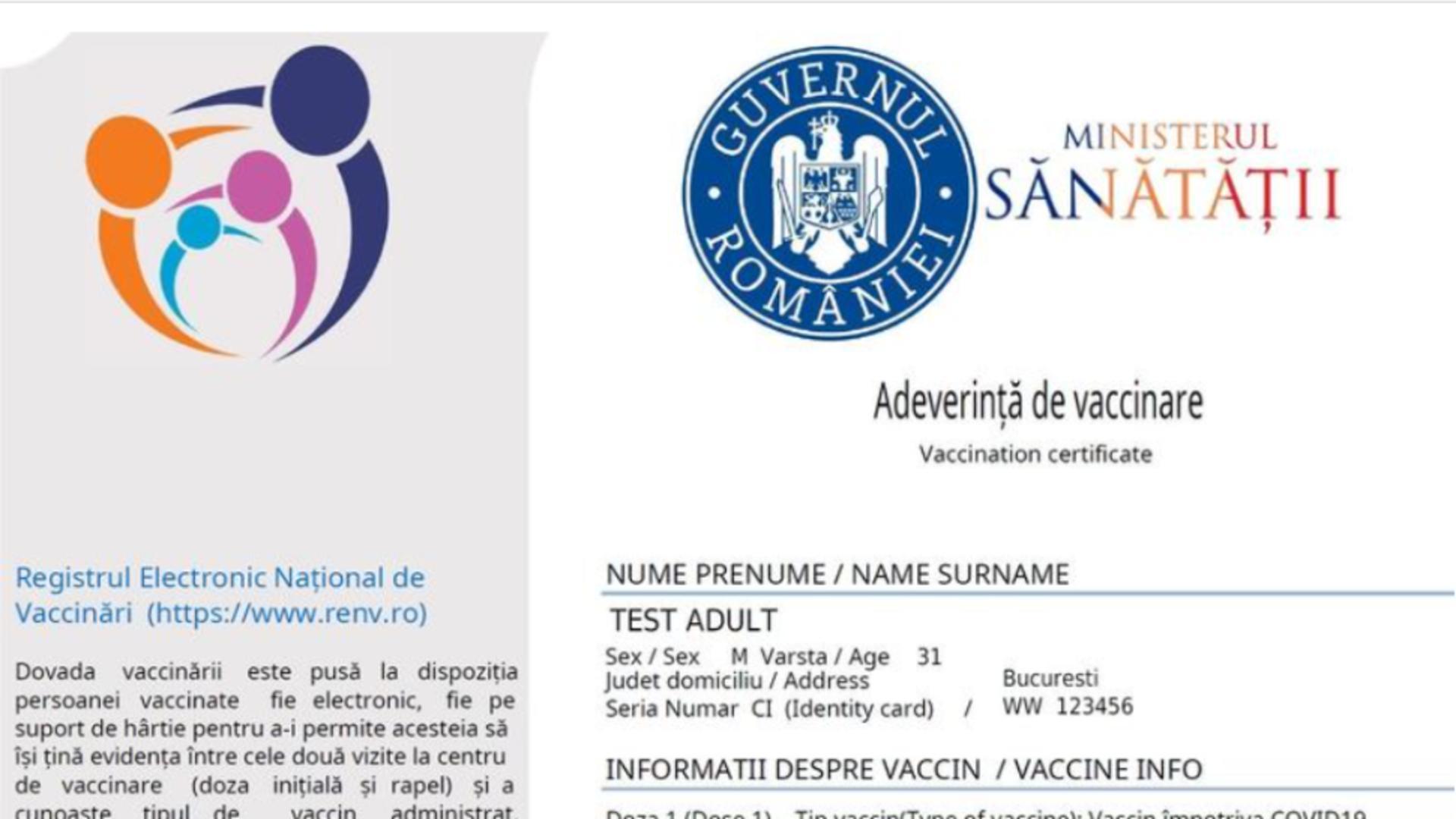 Adeverință vaccinare anti-Covid/ Captură foto