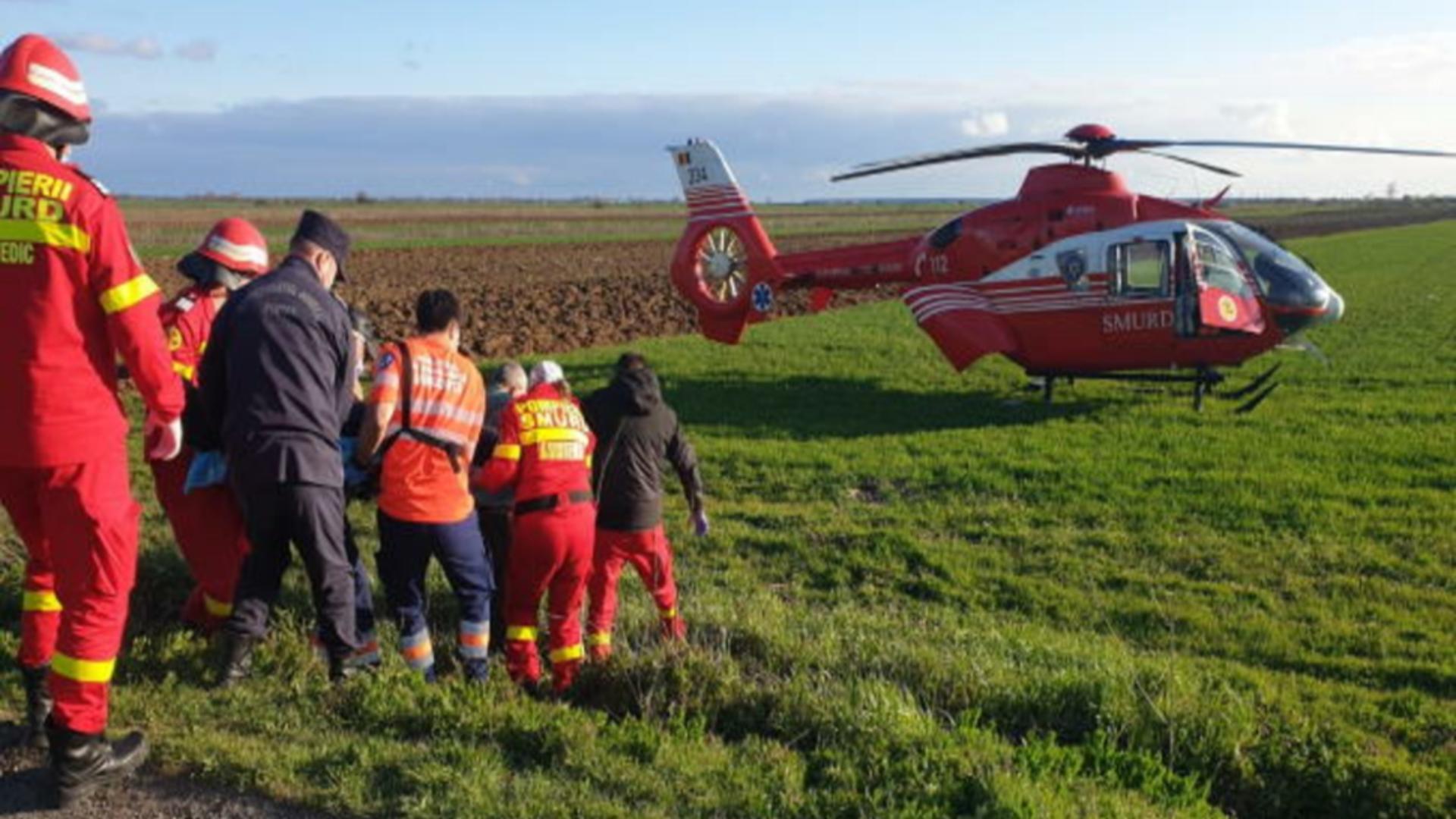 Intervenție elicopter accident Dâmbovița
