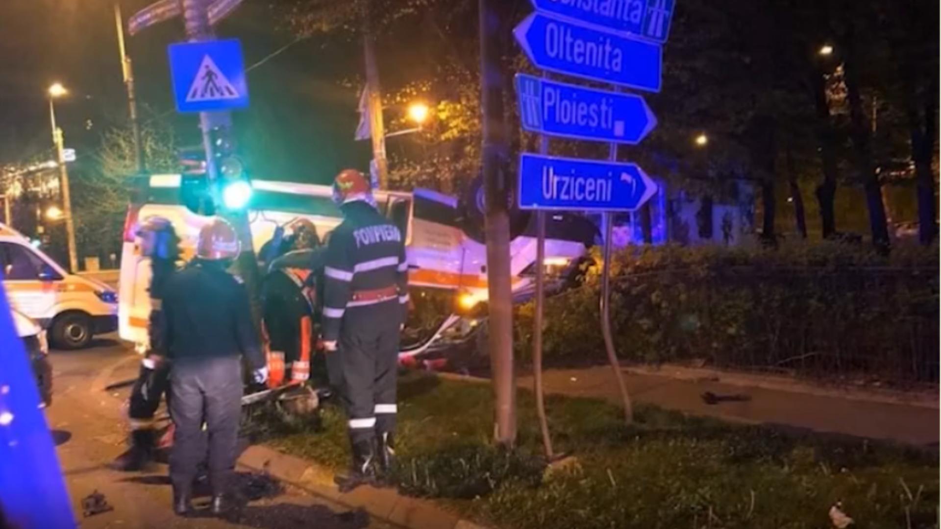 Accident în București. Foto: captură Realitatea Plus