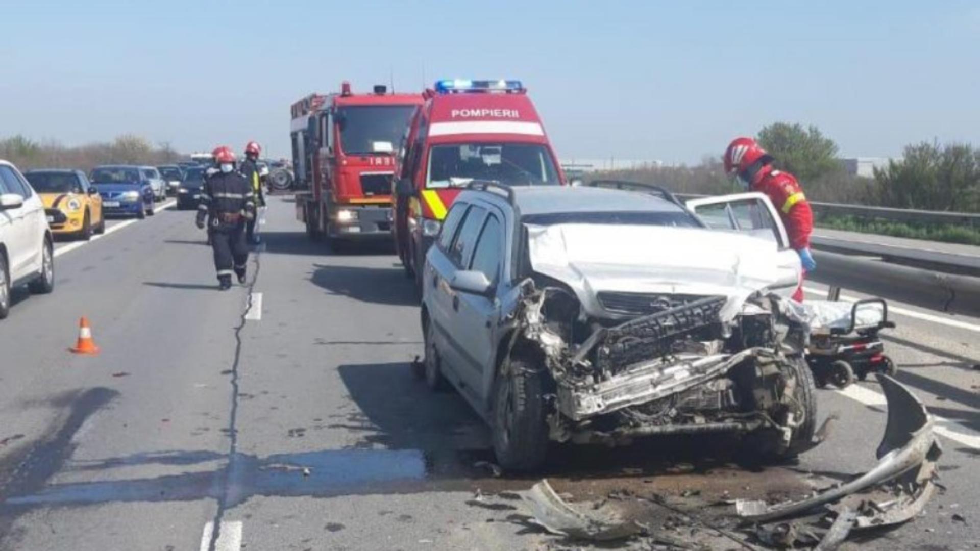 Accident în lanț. Foto: Realitatea de Argeș
