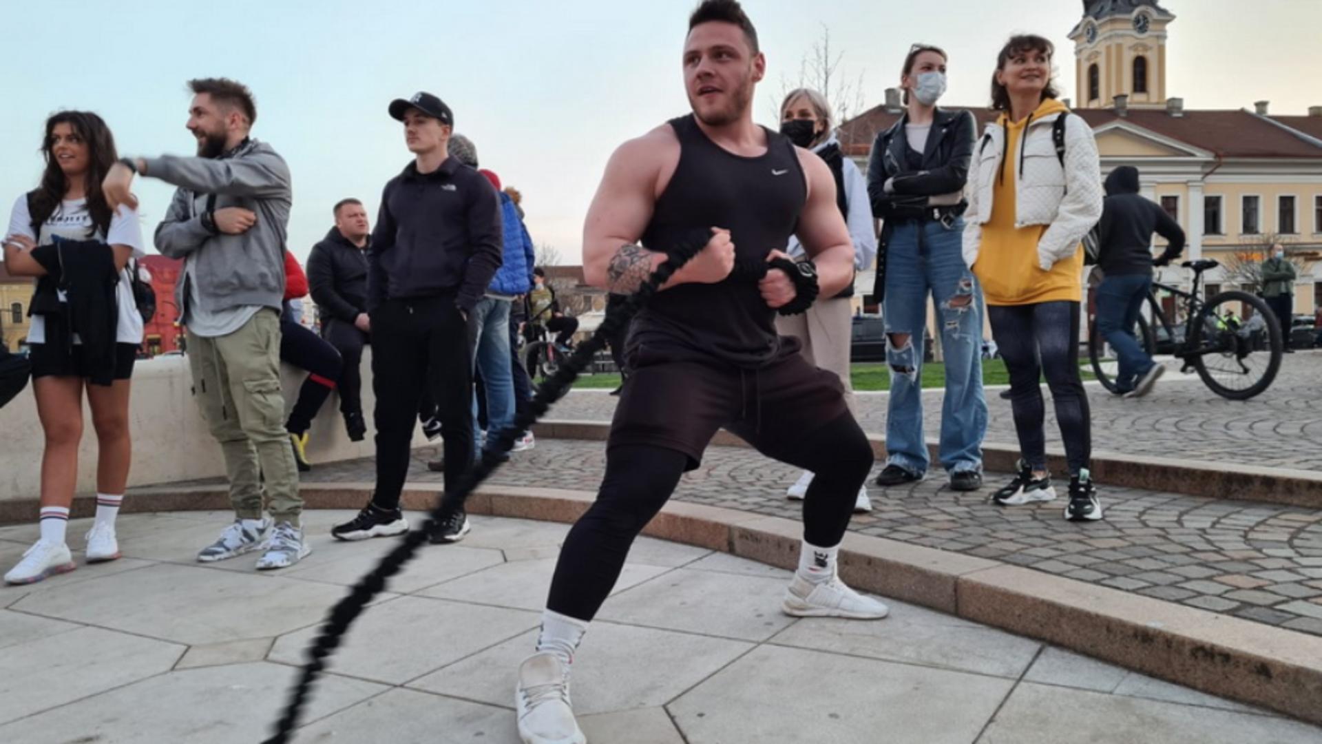 Flashmob sport la Oradea - protest antirestricții Foto: ebihoreanul.ro