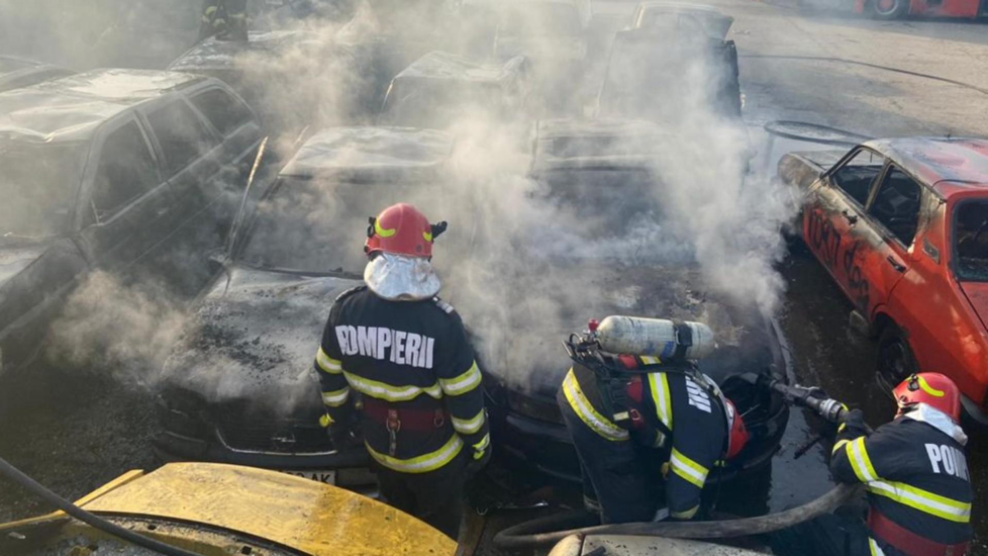 Incendiu în parc auto RAT Craiova