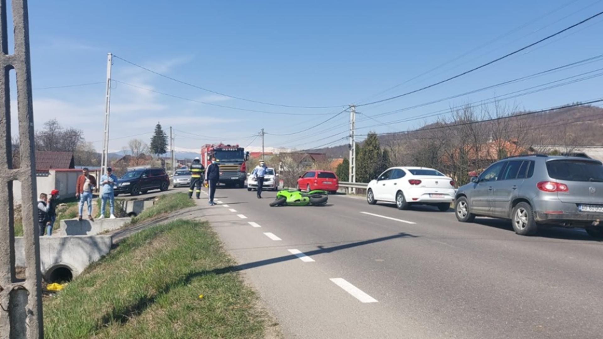 Accident grav de motocicletea (sursă: Arges Stiri)