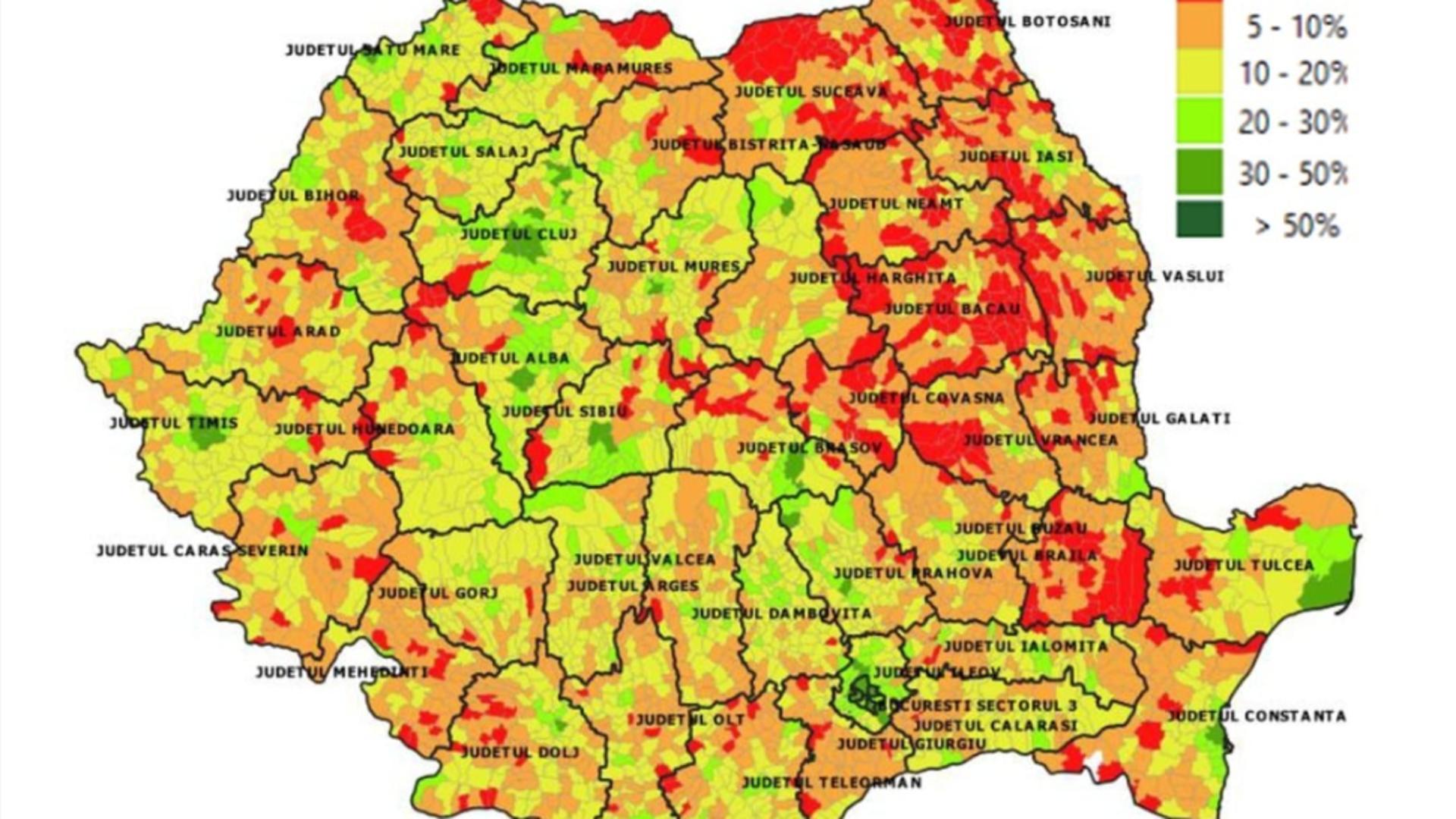 Situația vaccinării în România pe localități (26 mai) /  Foto: Facebook RO Vaccinare