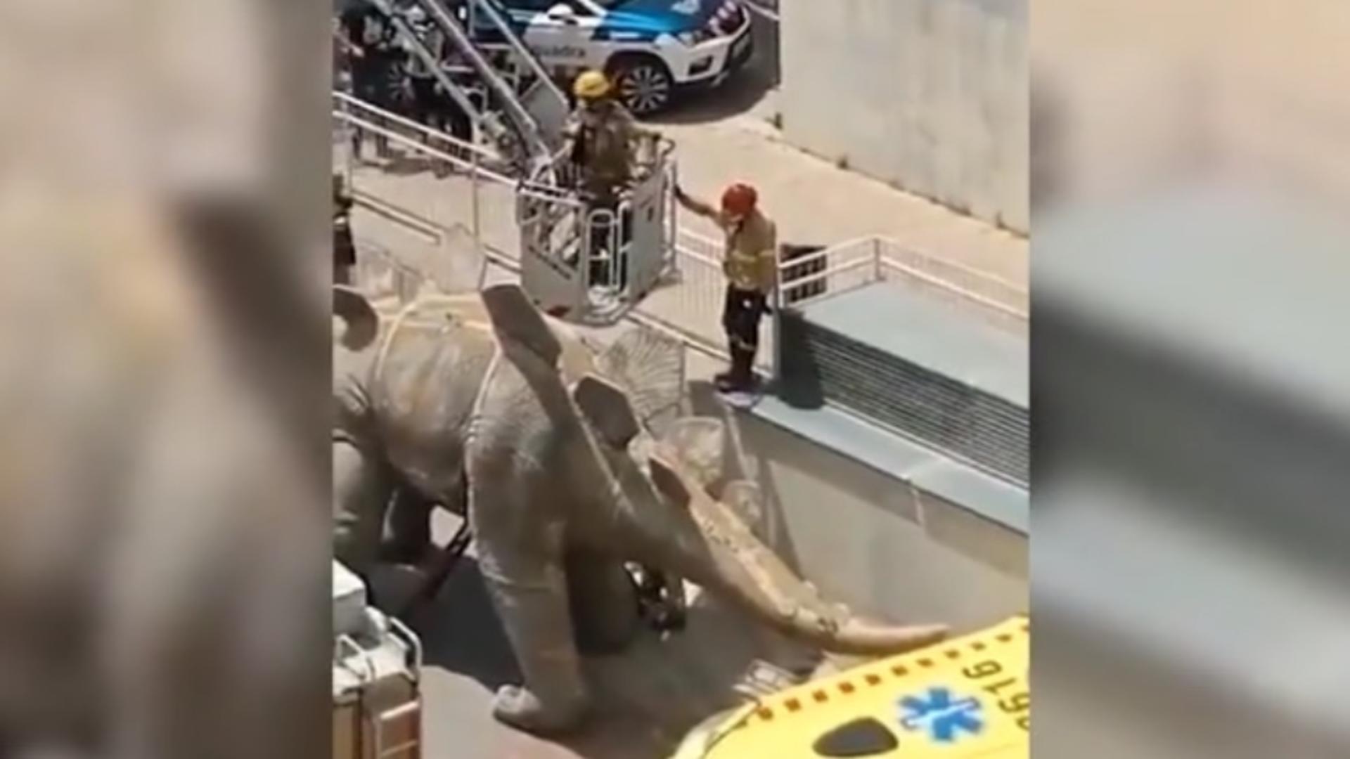 Un bărbat din Spania a fost găsit mort în trupul unui dinozaur decorativ