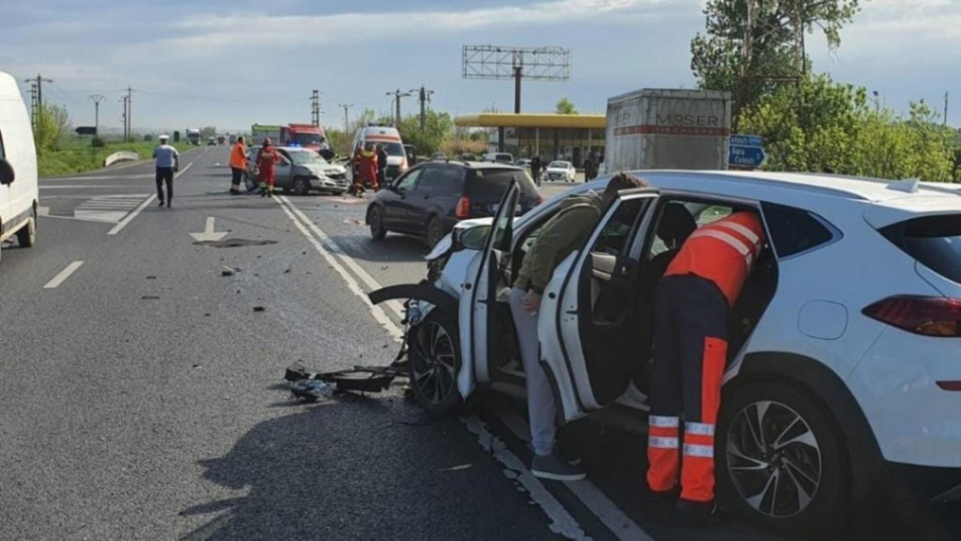 Mașina implicată în accidentul de pe E85 (sursă ISU Vrancea)