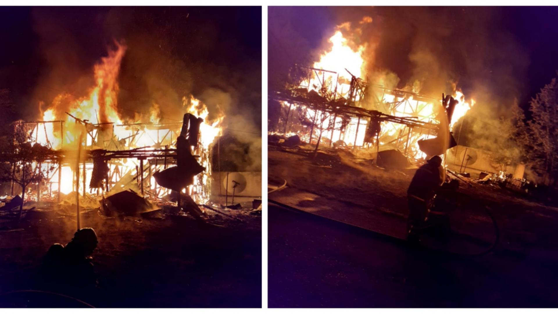 Incendiu devastatator la o firmă din Vâlcea