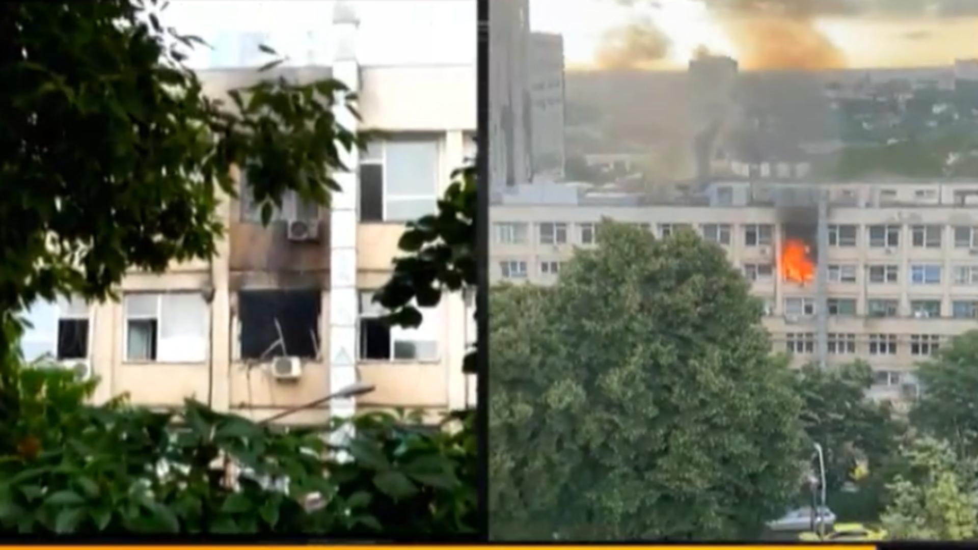 Incendiu la Spitalul de copii din Iași. Foto: captură Realitatea Plus