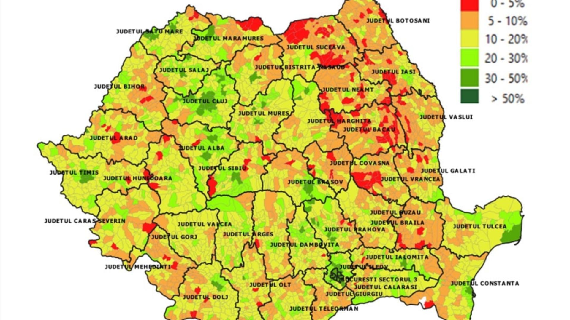Situația vaccinării în România pe localități (5 iulie) / Foto: Facebook RoVaccinare