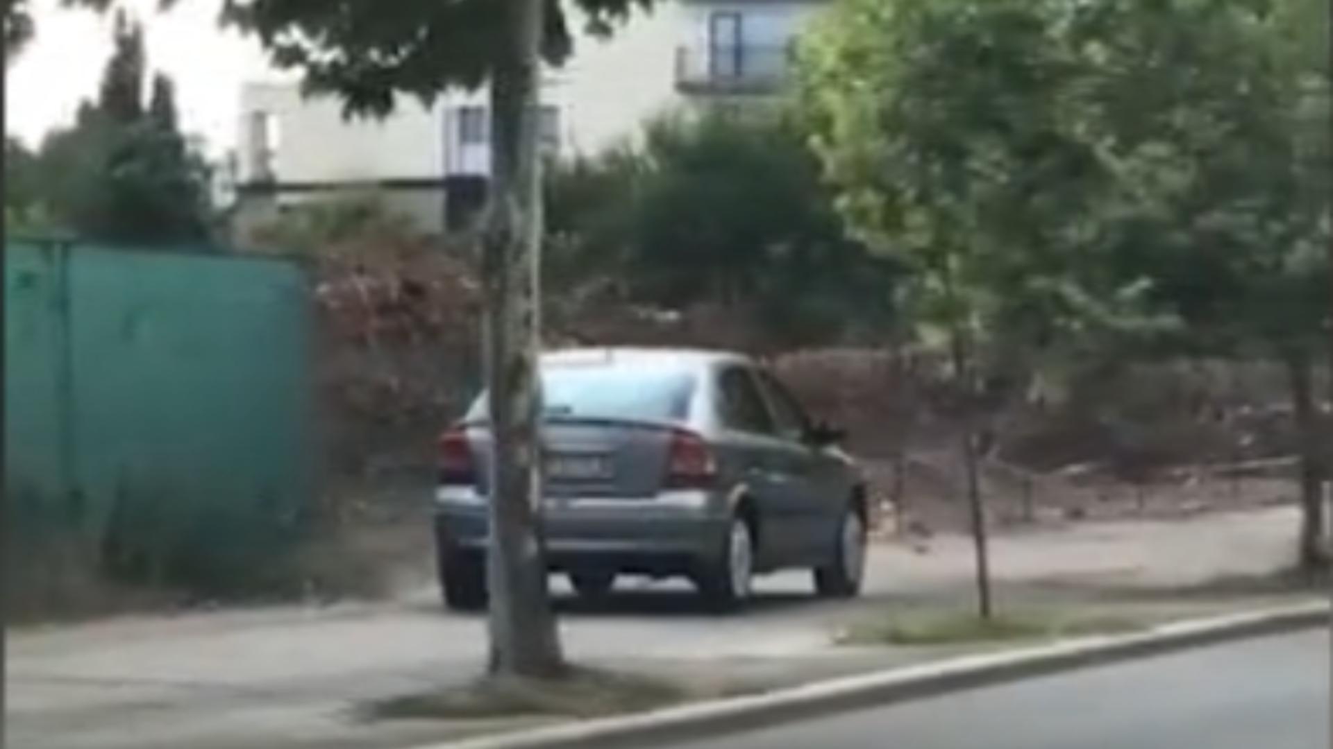 Șofer surprins conducând pe trotuar / Captură foto