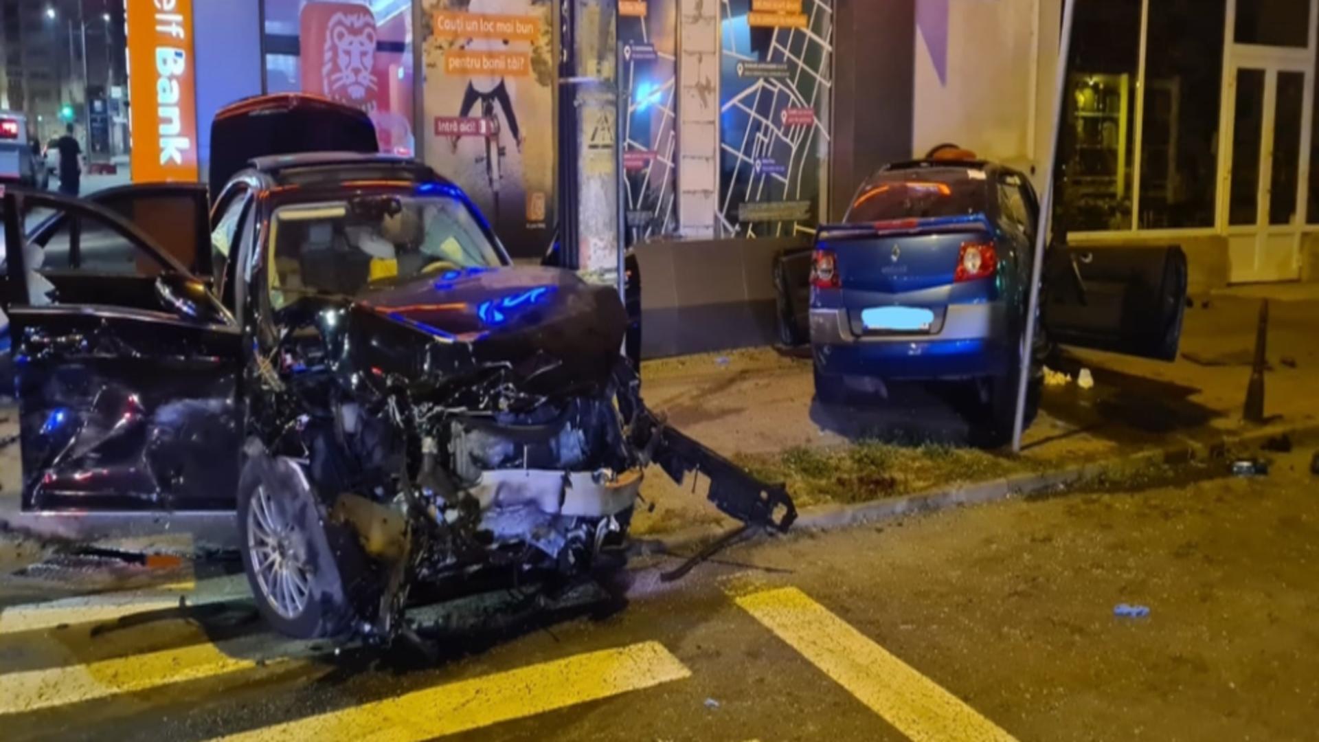 Accident cumplit, în Târgu Mureș. Foto: ISU Mureș