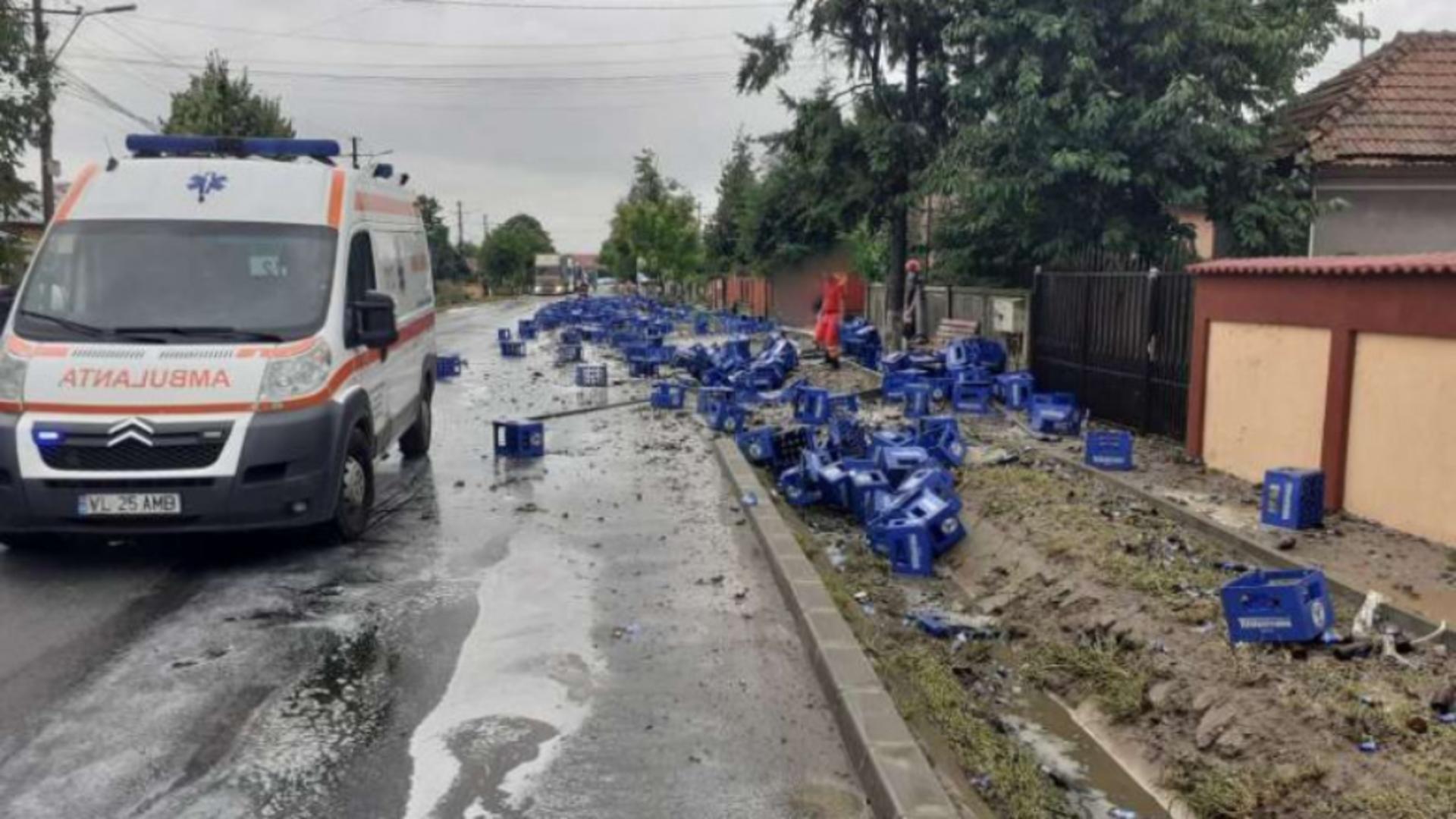 Accident neobișnuit, în Vâlcea. Sursa foto: ISU Vâlcea
