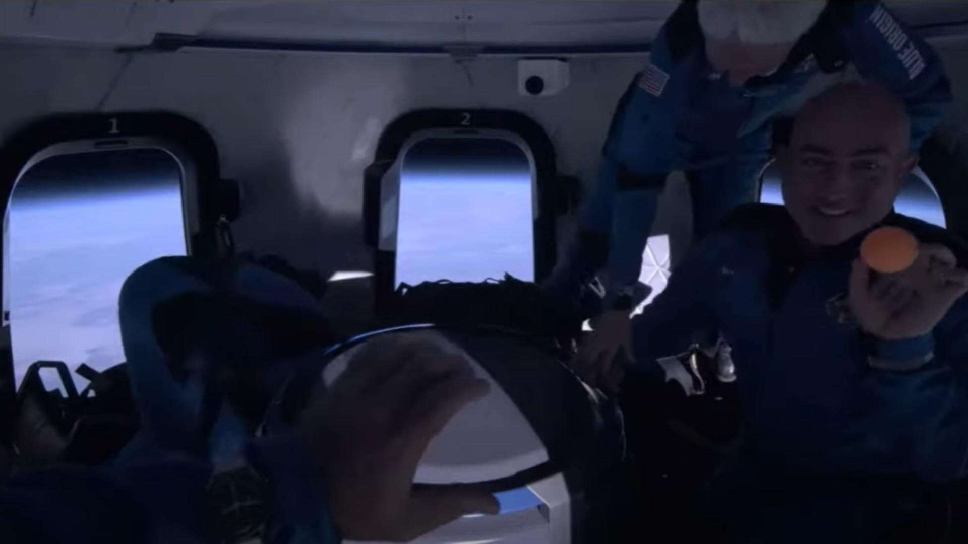 Imagini din New Shepard. Foto: captură YouTube