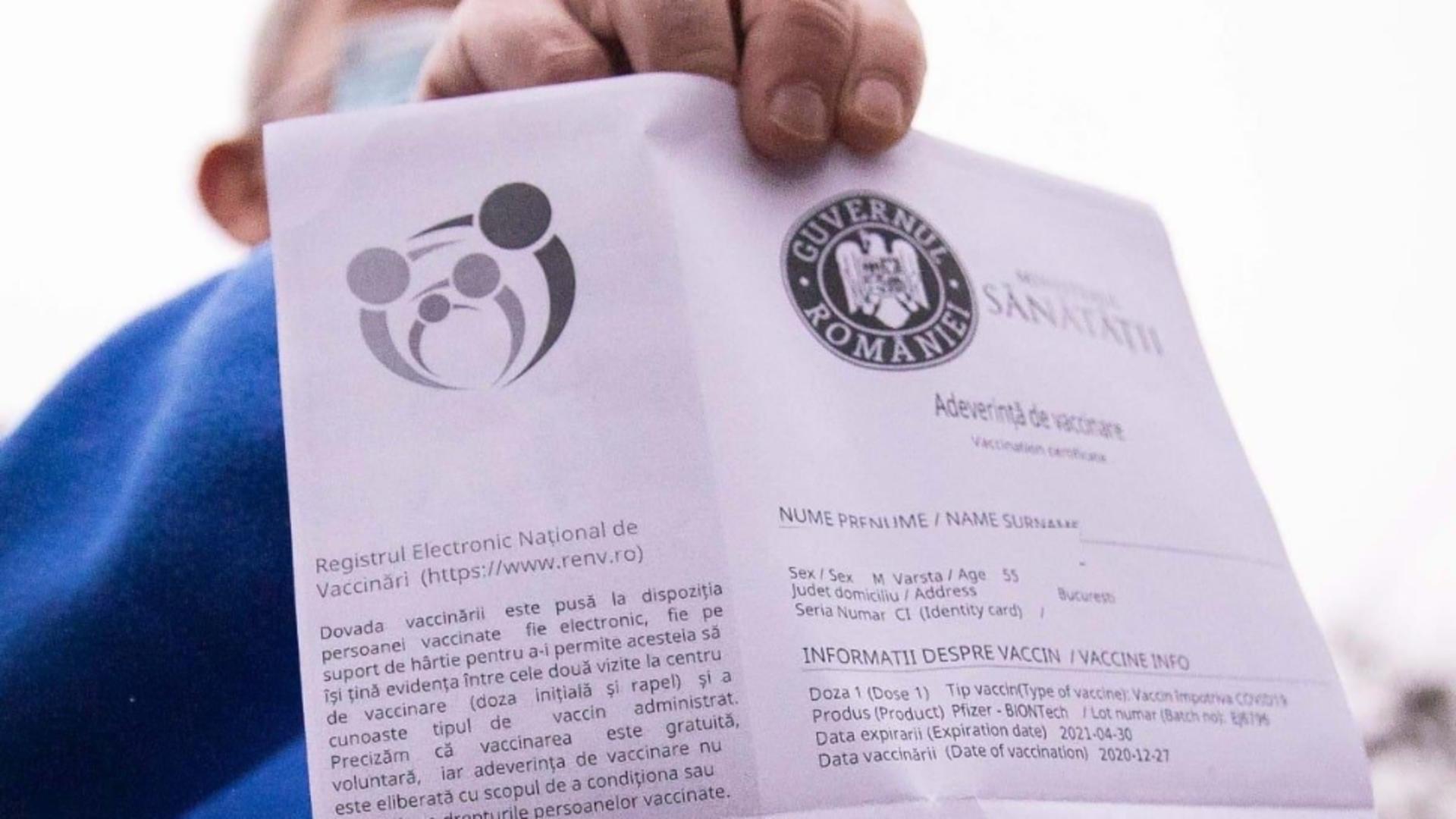 Adeverință de vaccinare ( fotoȘ Guvernul României)
