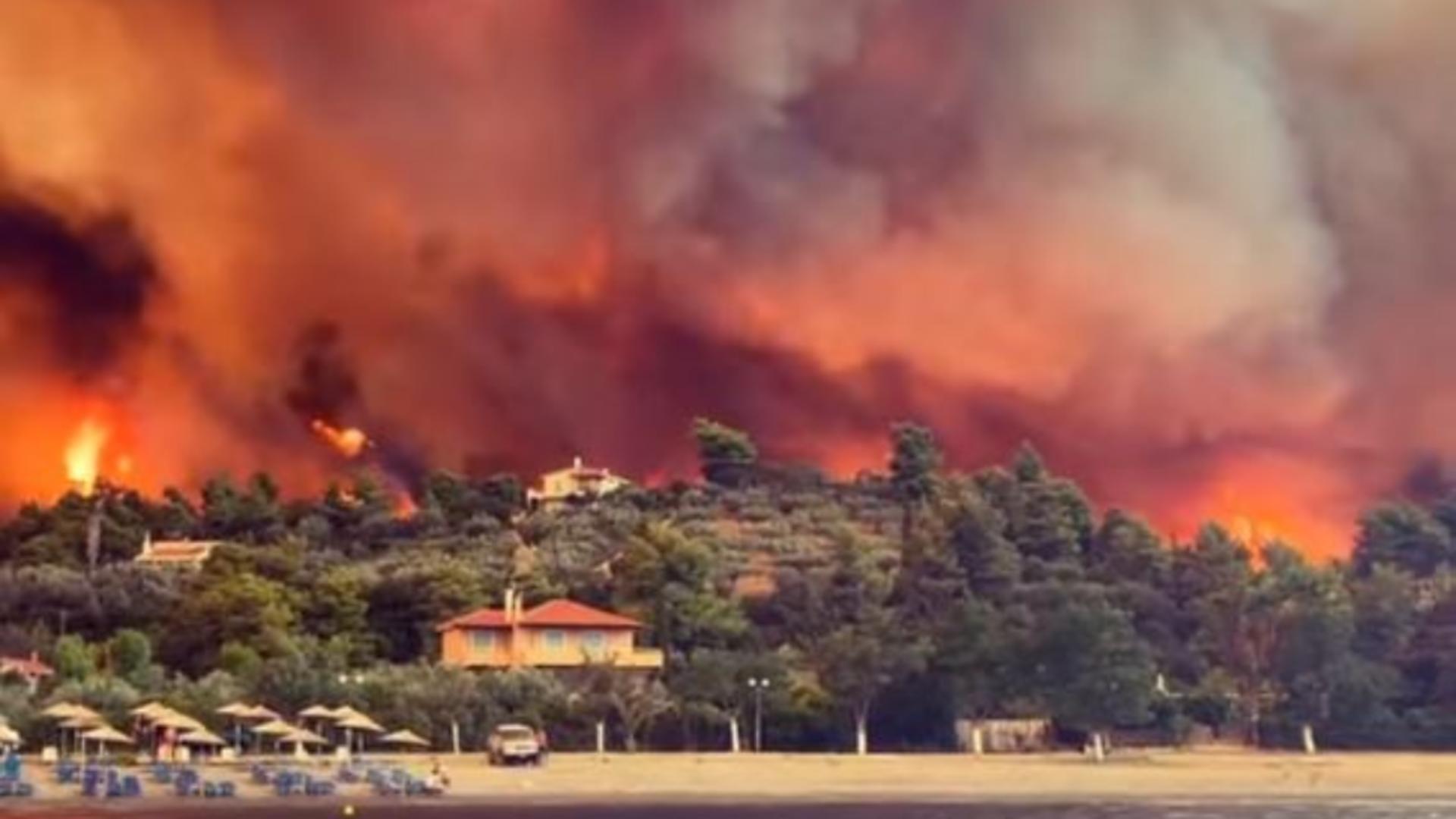 Incendiu puternic în Grecia