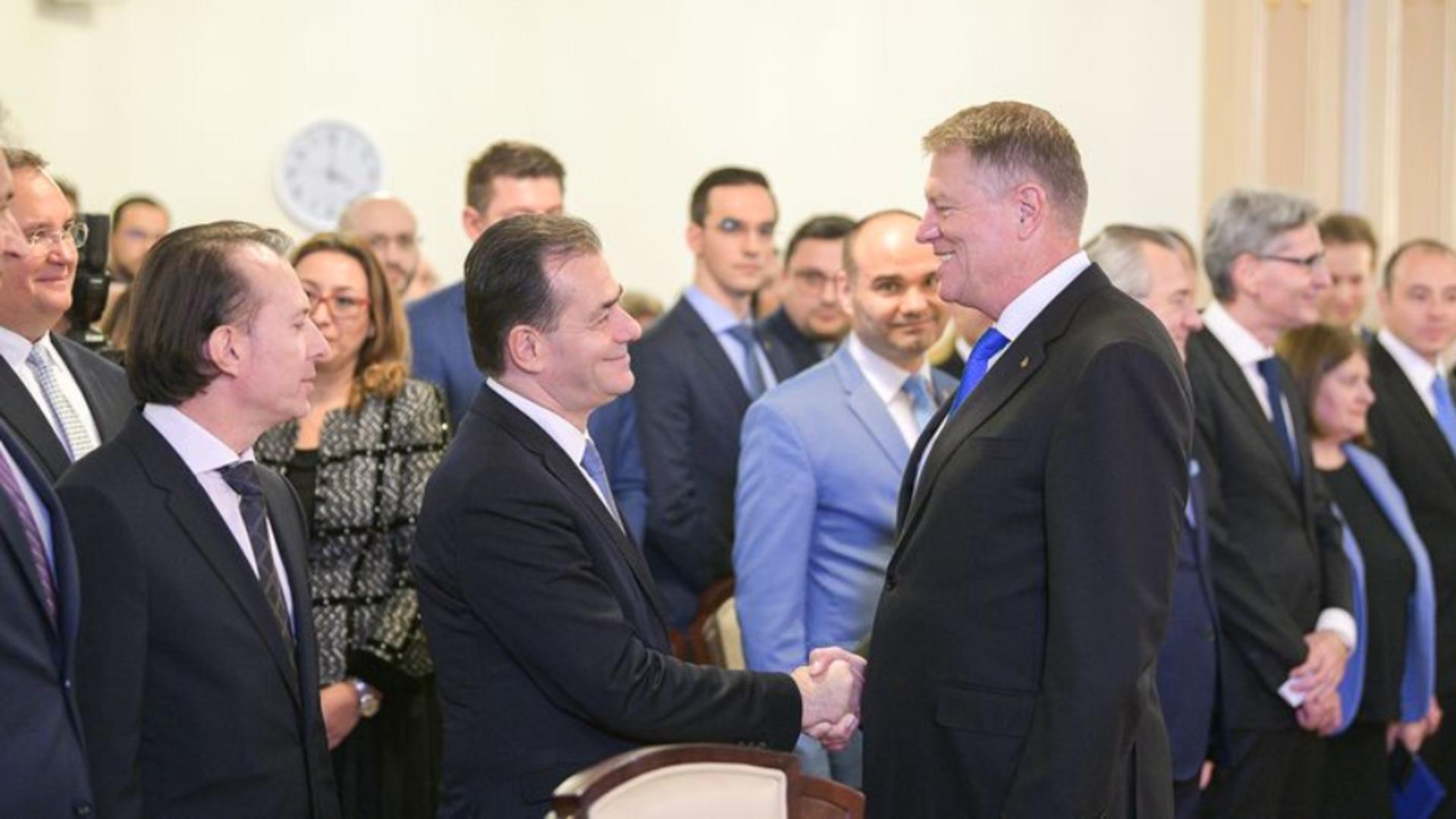 Florin Cîțu, Ludovic Orban și Klaus Iohannis