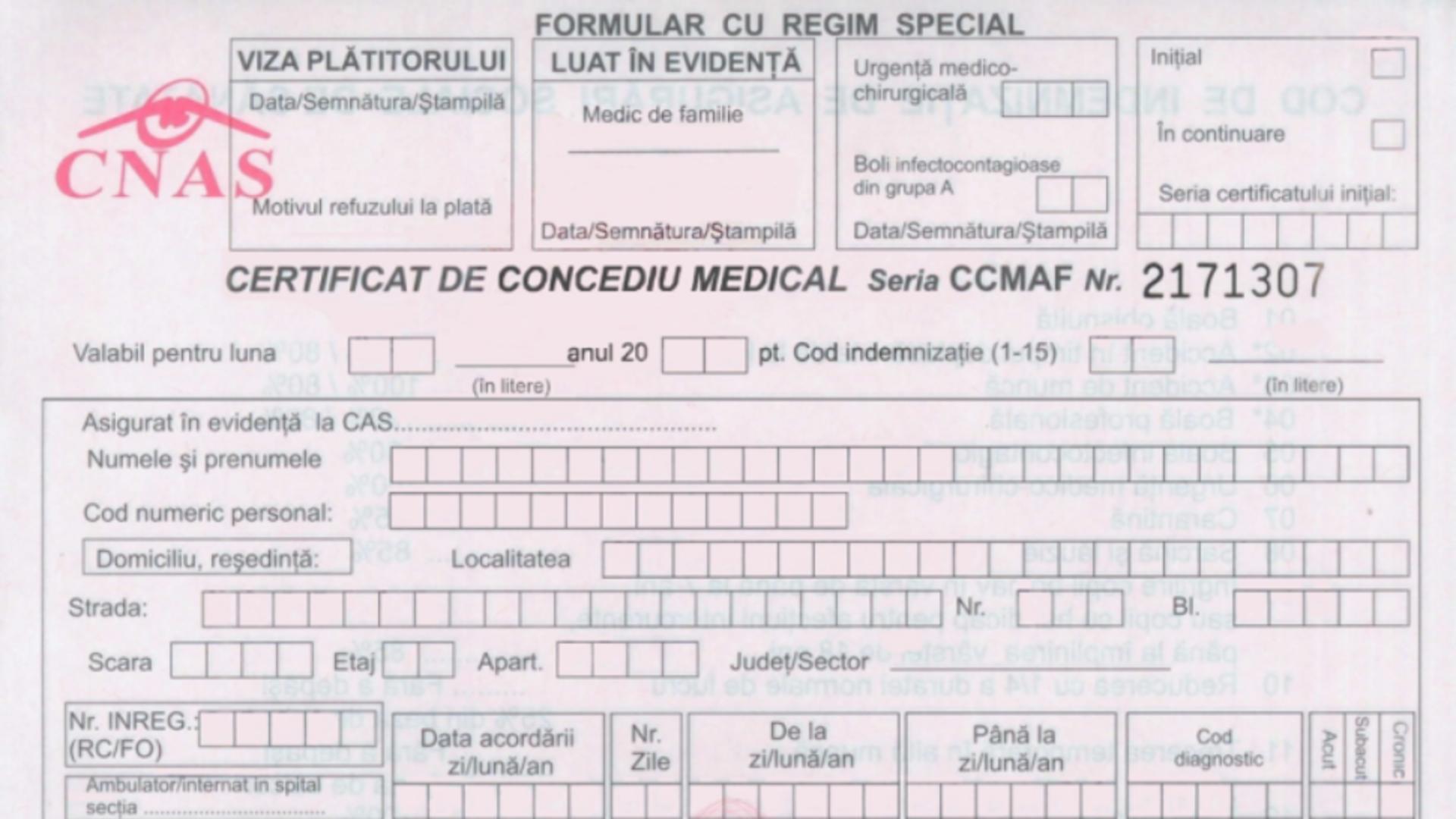 Formular concediu medical