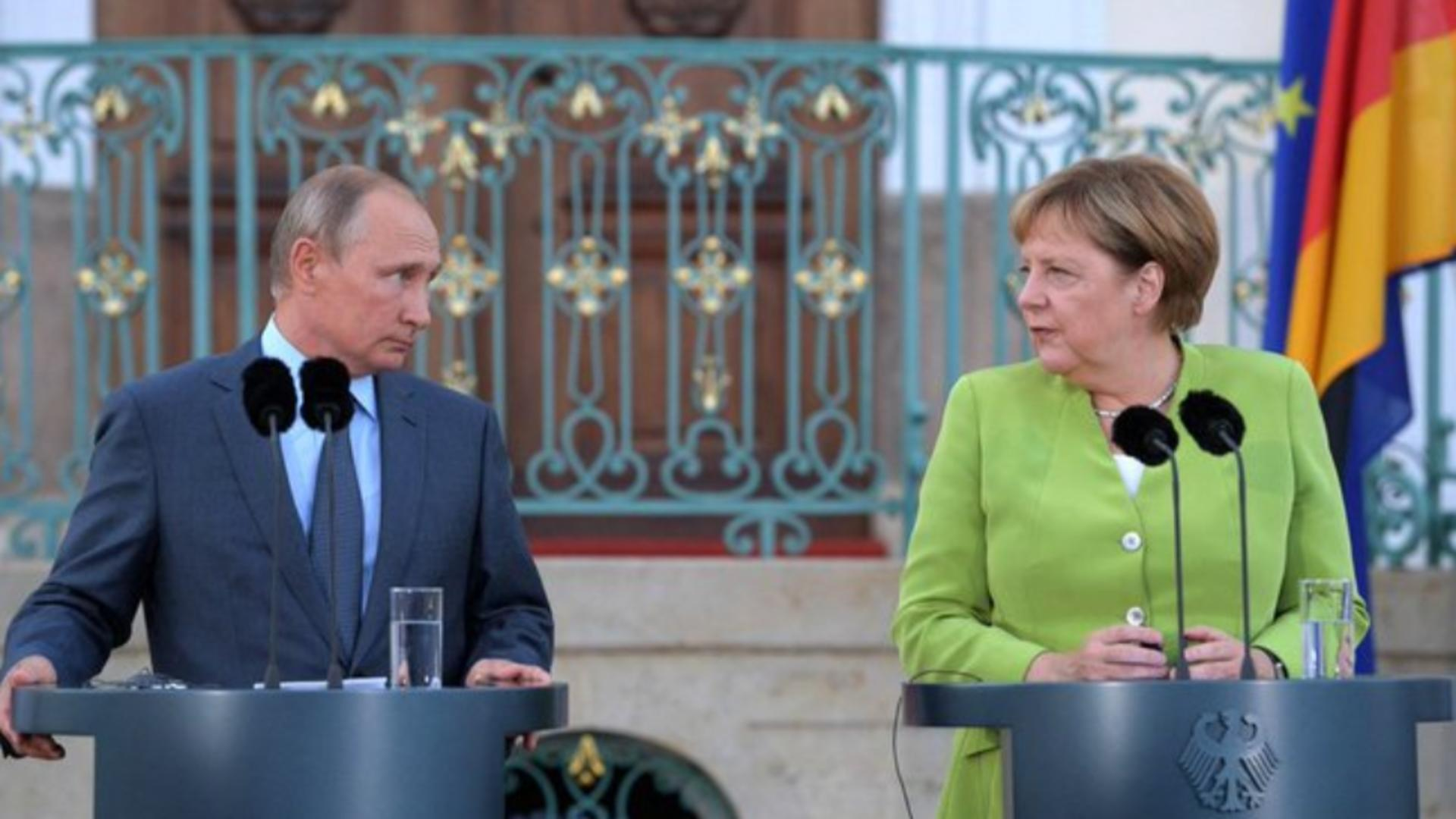 Merkel și Putin, față în față, pentru gazoductul Nord Stream 2 Foto: Twitter.com