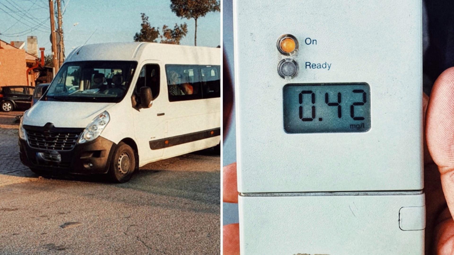 Șofer beat, prins la volanul unui microbuz cu pasageri