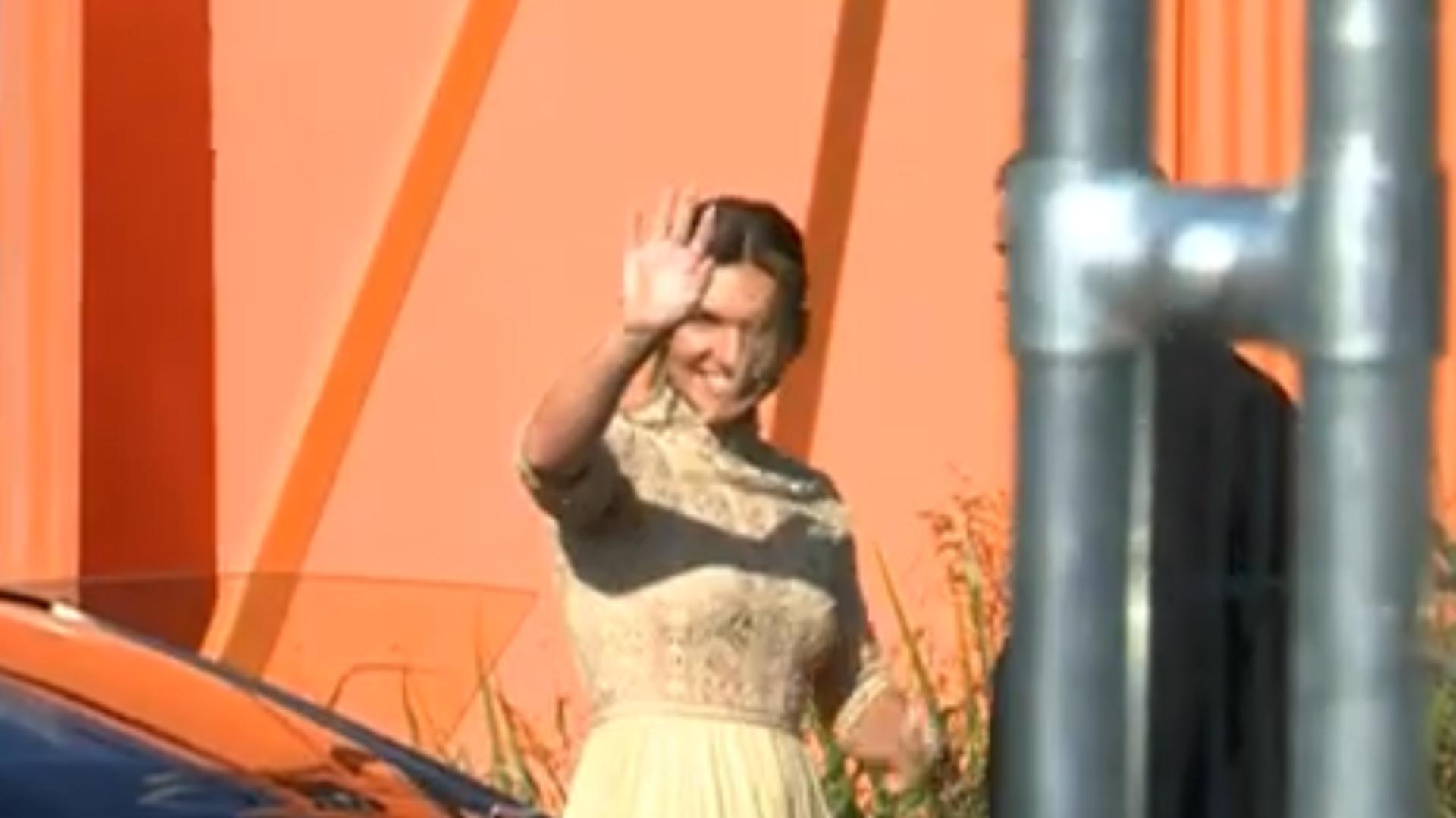 Simona Halep în rochia de la cununia civilă (sursă: Realitatea Plus)