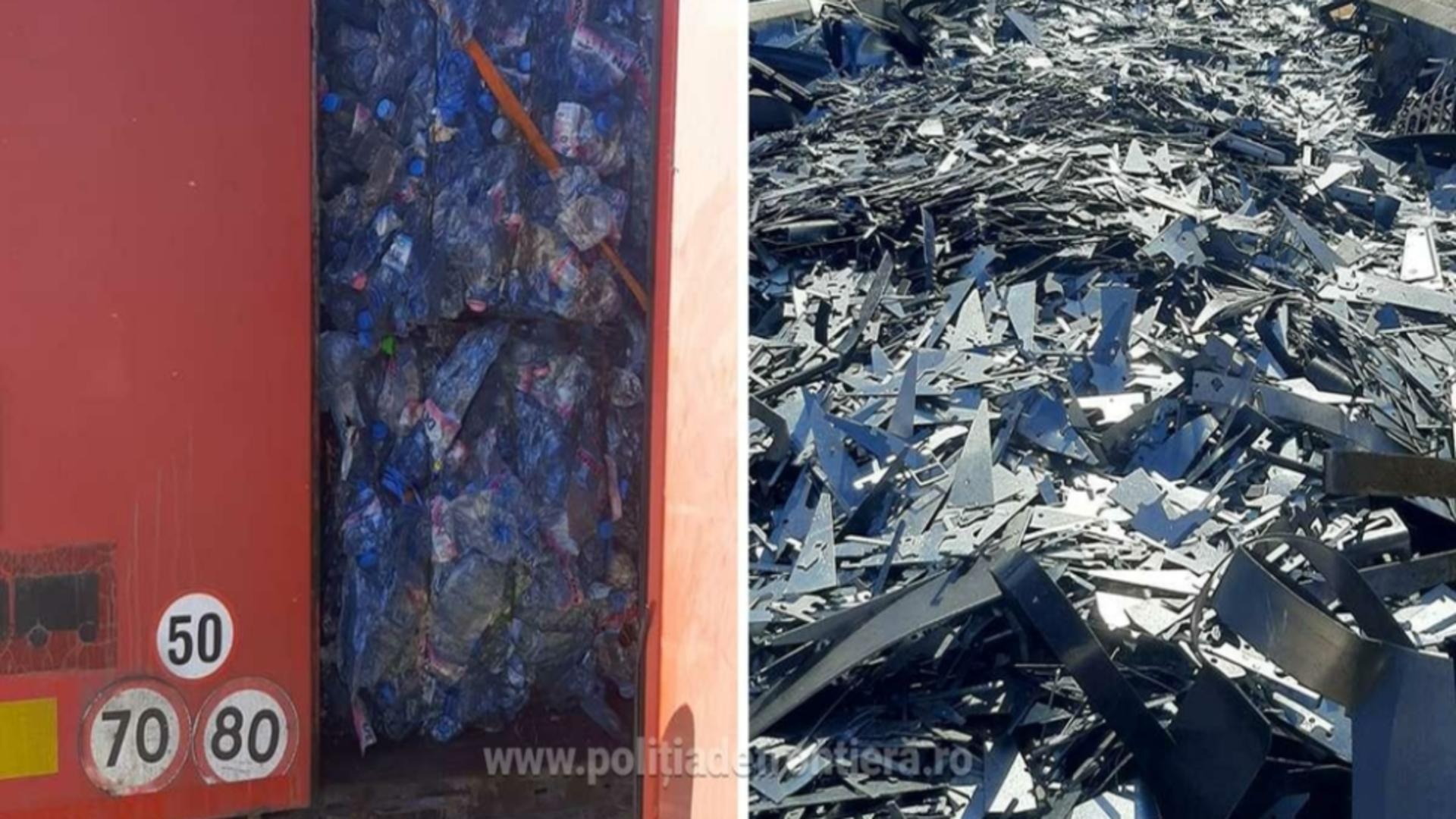 Deșeuri plastice și metalice PTF Giurgiu / Foto: Poliția de Frontieră