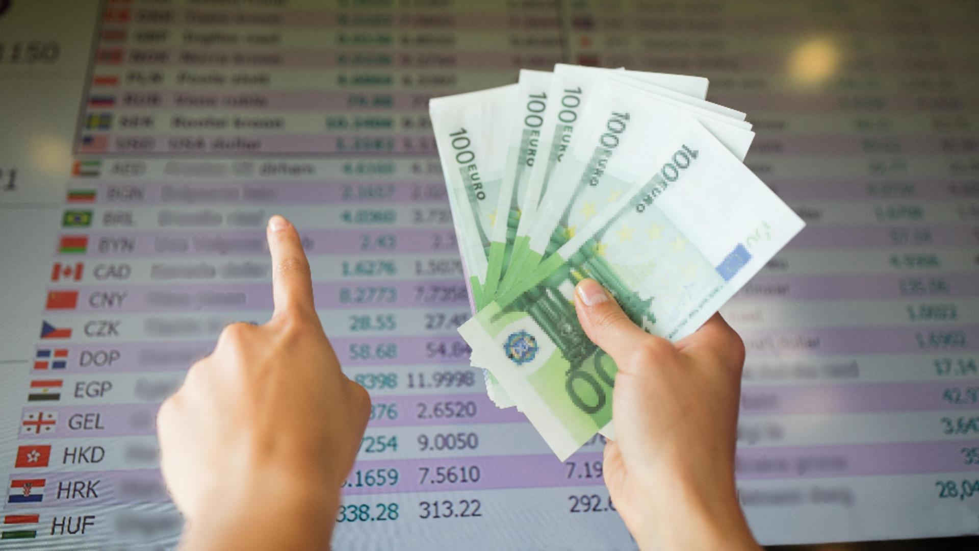 Leul a câștigat teren în fața monedei unice europene, dar a pierdut în fața dolarului. Foto/Profimedia